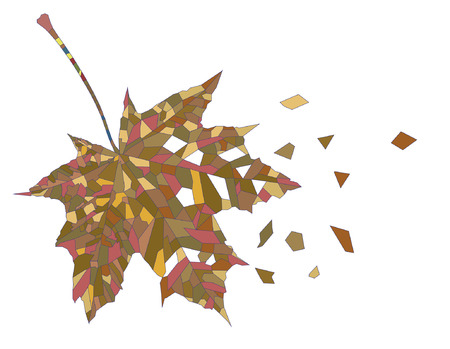 decorative image of mosaic autumn leaf with broken fragments