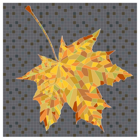 marple: decorative image of autumn leaf in cubist style