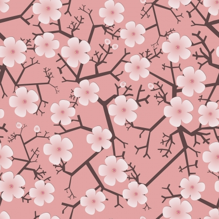 decorative seamless pattern with blooming fruit trees