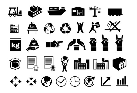 durable: set of flat black logistic icons