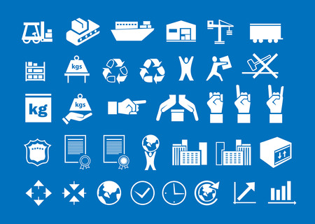 set of white logistic icons on blue background