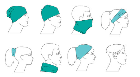 man face profile: set of profile faces with different hats Illustration