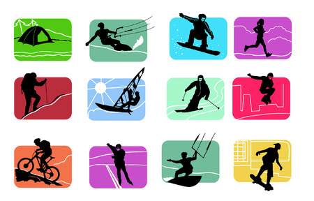 rollerblade: colorful icons of active sport figures