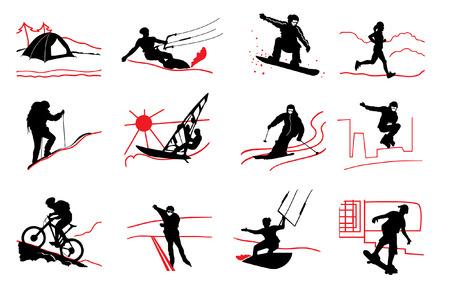 rollerblade: set of active sport icons
