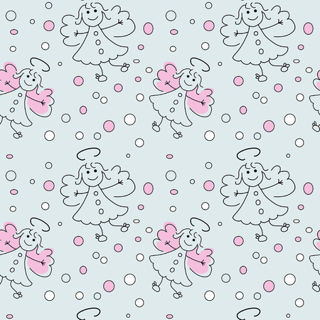 doodle seamless pattern with angels