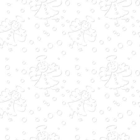 seamless pattern with angels on white background