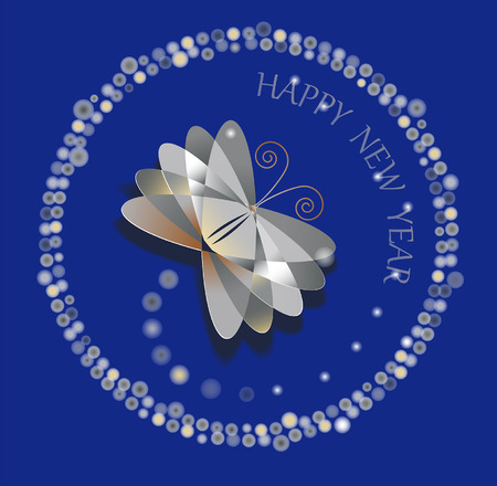 New Year volume decorative butterfly for your background Illustration