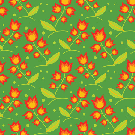 medow: seamless decorative pattern with red bells on green medow