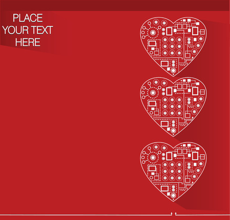 decorative red background with schematic hearts