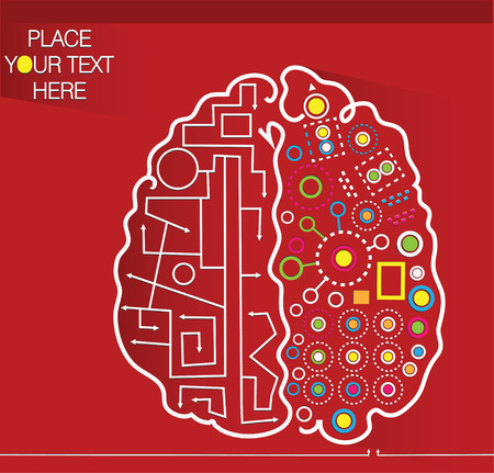 decorative red background with brain and place for your text