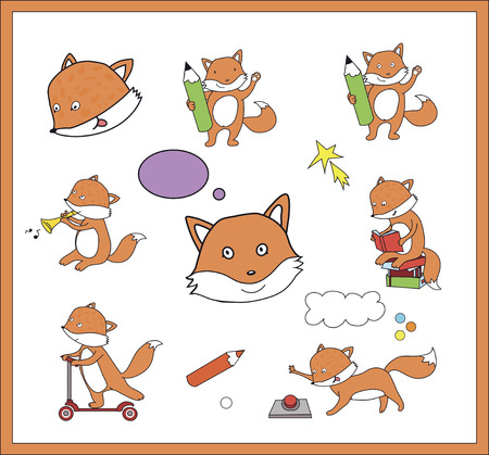 set of many characters of little foxes Illustration