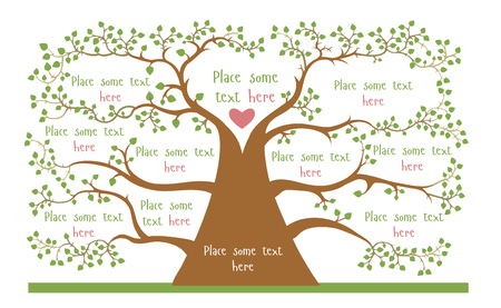 genealogical tree: Concept of geneologic tree with empty spaces for your information Illustration