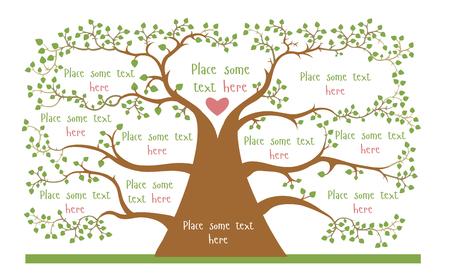 Concepto del árbol geneologic con espacios vacíos para su información Vectores
