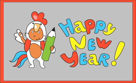 Little cute fox in white cocks suite on New Year greeting card