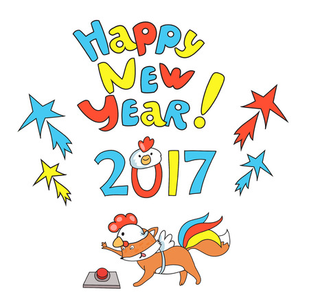 Little cute fox in  cocks suite on scooter press  The New Year Greetings button