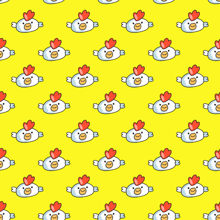 Decorative seamless pattern on yellow background with childish cocks