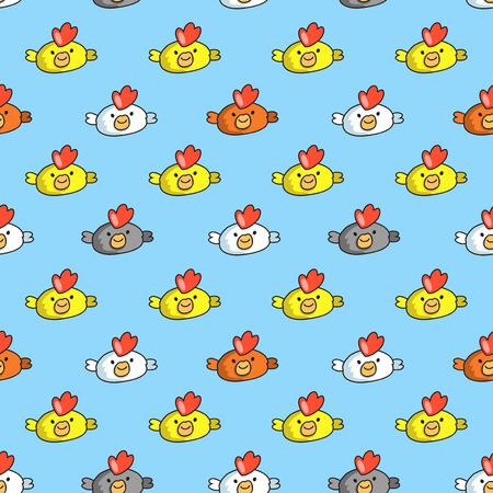 Decorative seamless pattern on blue background with childish cocks
