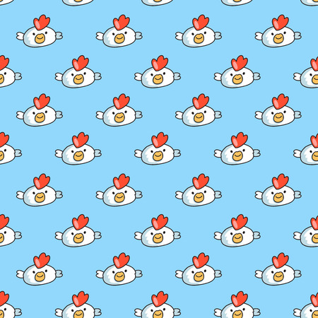 childish: Decorative seamless pattern on blue background with childish cocks