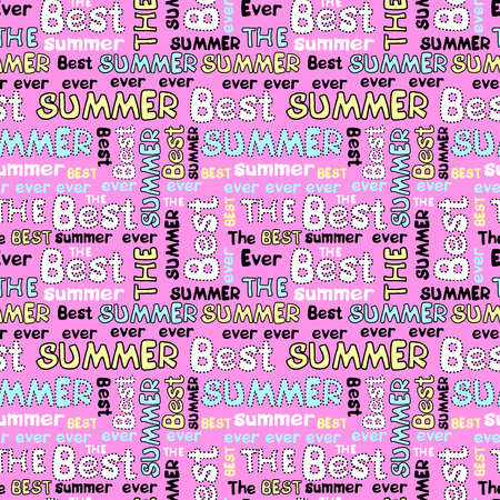 Decorative seamless pattern with summer letterings
