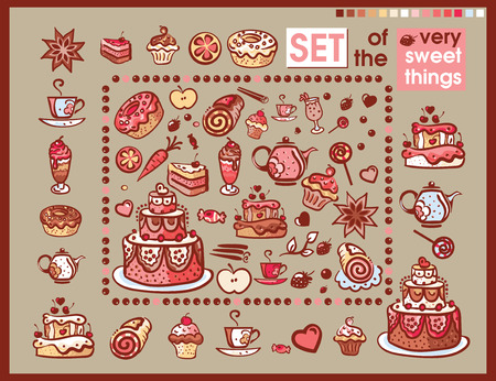 set of meny cinds of sweets