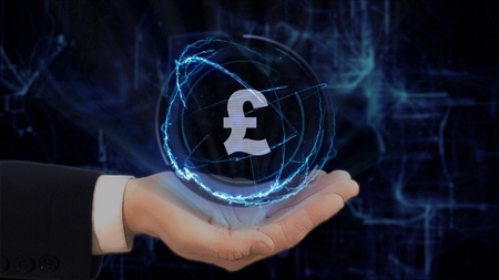 Painted hand shows concept hologram Sign British Pound on his hand. Drawn man in business suit with future technology screen and modern cosmic background
