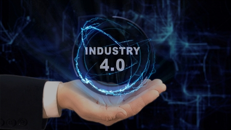 Painted hand shows concept hologram Industry 4 on his hand. Drawn man in business suit with future technology screen and modern cosmic background