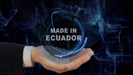 Painted hand shows concept hologram Made in Ecuador on his hand. Drawn man in business suit with future technology screen and modern cosmic background