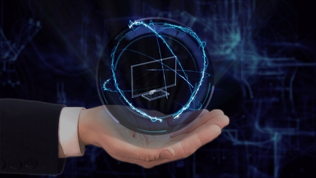 Painted hand shows concept hologram 3d TV on his hand. Drawn man in business suit with future technology screen and modern cosmic background