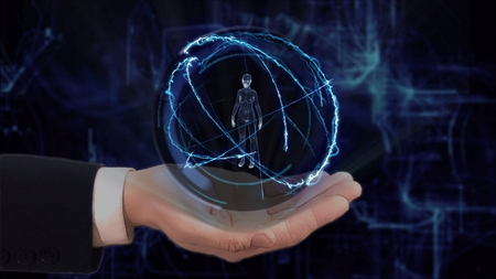 Painted hand shows concept hologram 3d woman on his hand. Drawn man in business suit with future technology screen and modern cosmic background Stockfoto