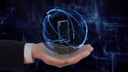 Painted hand shows concept hologram 3d smartphone on his hand. Drawn man in business suit with future technology screen and modern cosmic background
