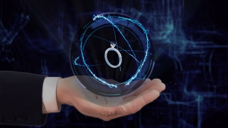 Painted hand shows concept hologram 3d ring on his hand. Drawn man in business suit with future technology screen and modern cosmic background Stockfoto