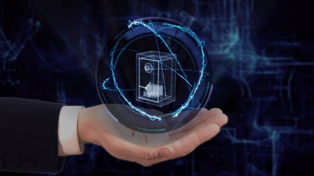 Painted hand shows concept hologram 3d safe money on his hand. Drawn man in business suit with future technology screen and modern cosmic background Stockfoto