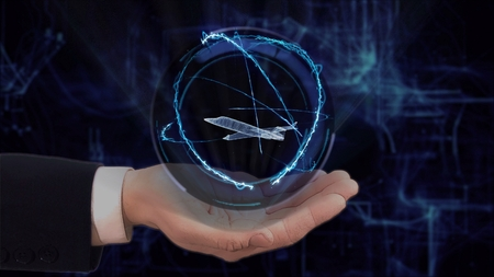 Painted hand shows concept hologram 3d jet on his hand. Drawn man in business suit with future technology screen and modern cosmic background