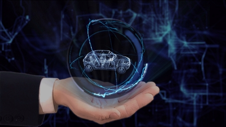 Painted hand shows concept hologram 3d family car on his hand. Drawn man in business suit with future technology screen and modern cosmic background