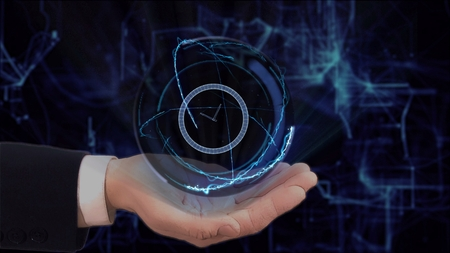 Painted hand shows concept hologram 3d clock on his hand. Drawn man in business suit with future technology screen and modern cosmic background Banque d'images - 122255519