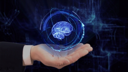 Painted hand shows concept hologram 3d brain on his hand. Drawn man in business suit with future technology screen and modern cosmic background