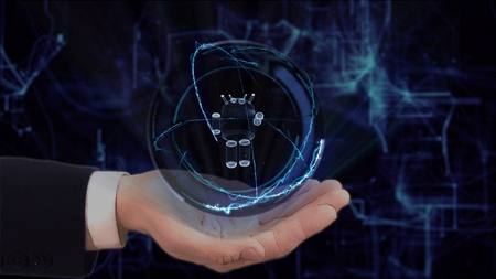 Painted hand shows concept hologram 3d robot on his hand. Drawn man in business suit with future technology screen and modern cosmic background