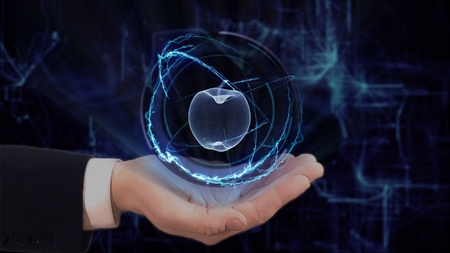 Painted hand shows concept hologram 3d apple on his hand. Drawn man in business suit with future technology screen and modern cosmic background