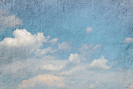 wall clouds: Drawing a blue sky with white clouds on the wall