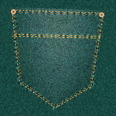 back pocket: Back pocket of green jeans close-up as background.