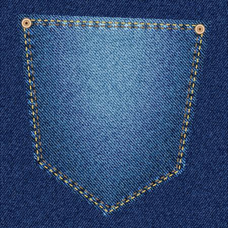 back pocket: Back pocket of blue jeans close-up as background. Vector EPS10