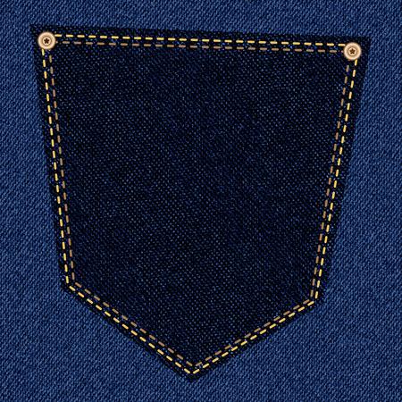 back pocket: Back pocket of black jeans close-up as background. Vector EPS10