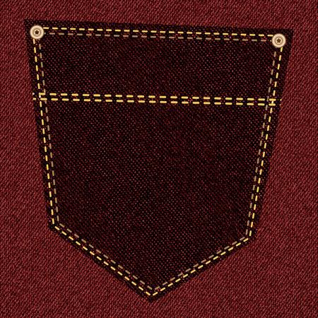 Back pocket of crimson jeans close-up as background. Vector EPS10 Illustration
