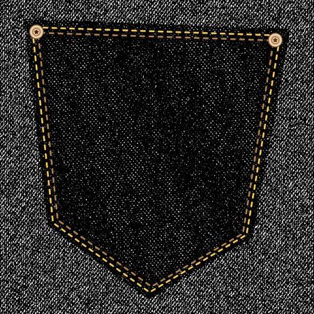 back pocket: Back pocket of black jeans close-up as background. Modern design for your projectEPS10 Stock Photo