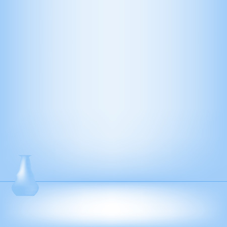 empty bowl: Lonely vase in blue studio background. It used to modern design Stock Photo