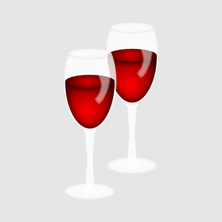 Two glasses of red wine on a white background.illustration.