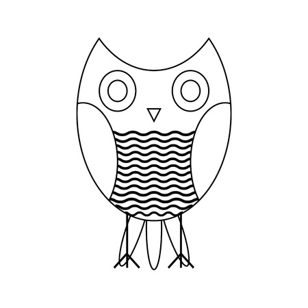 nocturnal animal: Black contours of the owl on a white background. illustration.
