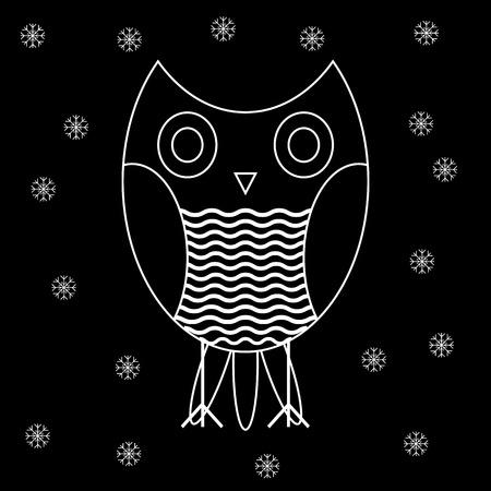 White contours of the owl on a black background. illustration. Illustration