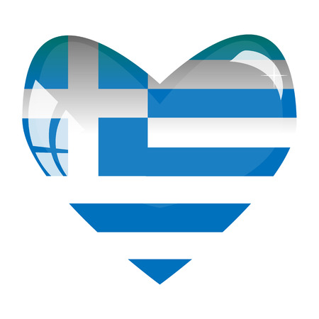 National flag of Greece in a glass heart. Illustration