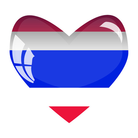 National flag of Thailand in a glass heart. Illustration